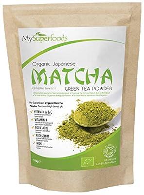 Poudre de Thé Vert Matcha Japonais Bio (100g) | MySuperFoods | Davantage d'antioxydants que tout autre aliment | Source riche en nutriments, y compris les vitamines A, C et K | Thé de qualité cérémoniale | Certifié biologique