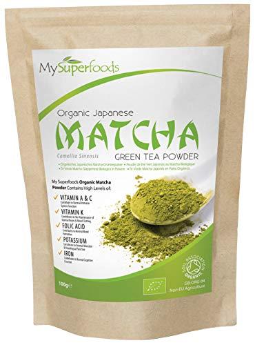 Bio Matcha Grüner Tee (100 Gramm) | MySuperFoods | Mehr Antioxidantien als jedes andere Essen | Reiche Quelle von Nährstoffen einschließlich Vitamin A, C und K | Zeremonieller Tee | Bio-Zertifiziert