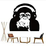 Adesivi Murali Pensando Gorilla Stickers Murali Art Design Decorazione Domestica Vinile Scimmia Musica Adesivo Murale Camera Da Letto Wall Art Murale 56X64Cm