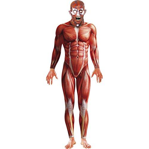 Anatomie Kostüm Ganzkörperanzug rot L 52/54 Second Skin Zweite Haut Stretchanzug Faschingskostüme Karnevalskostüme Männer Herren