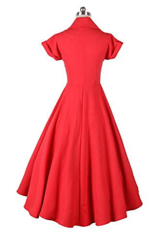 Eyekepper Robe Femme demoiselle annees 1950 vintage couleur robe plissee Rouge