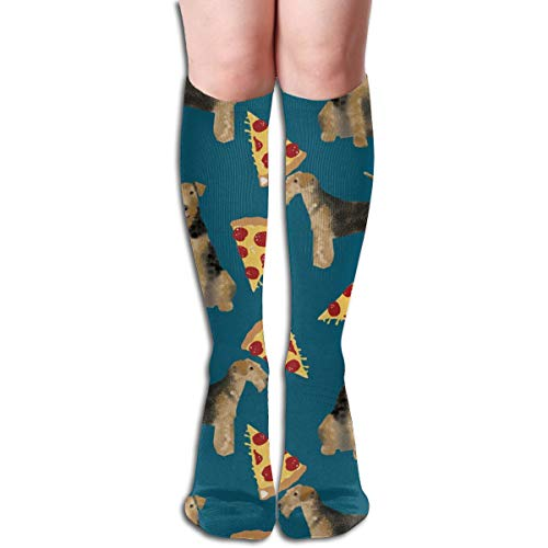 Women's Fancy Design Stocking Airedale Terrier Dog Cute Dogs Food Funny Pizza Sapphire Blue Multi Colorful Patterned Knee High Socks 19.6Inchs