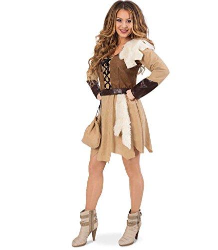 Damenkostüm Barbarin Kleid Gürtel und Beutel Kriegerin Wikinger (Wikinger Frau Kostüm)
