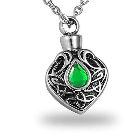 hooami grün Kristall Keltischer Knoten Tropfenform Gedenktafel für Haustiere Urne Halskette Edelstahl Verbrennung Jewelry