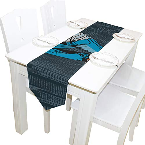 Yushg Skateboard Doodle Icon Fun Kommode Schal Stoffbezug Tischläufer Tischdecke Tischset Küche Esszimmer Wohnzimmer Home Hochzeitsbankett Dekor Indoor 13x90 Zoll