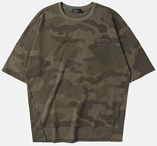 Pizoff Unisex Urban Basic Hip Hop weite Passform lässige T-Shirt in Versch Farben IF007-Green