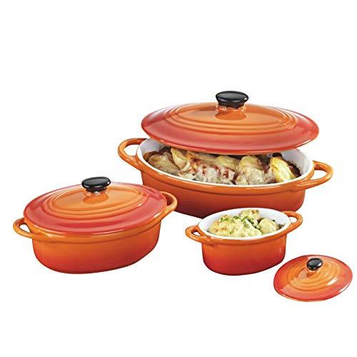 6pezzi set Pirofila da forno con coperchio-Ovale, Ceramica di alta qualità, Arancione, 600/200/100ML, adatto per forno a microonde, lavabile in lavastoviglie