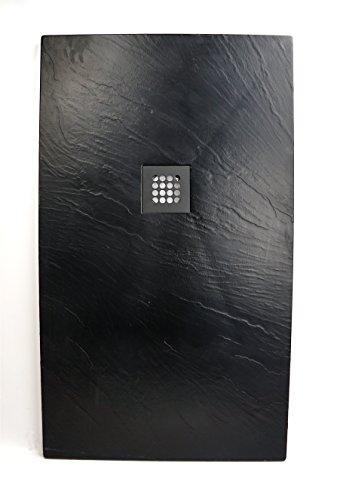 Preisvergleich Produktbild Art-of-Baan® - Extra flache Duschtasse, Duschwanne aus Acryl, Antirutsch (ABS) Oberfläche Schwarz; 120x70x3,5cm inkl. Ablaufgarnitur