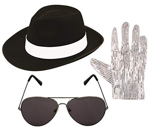 Labreeze Michael Jackson Style 3-teiliges Set Hut Pop Handschuhe Fliegerflieger Farbtöne 1980er Jahre Kostüm
