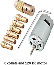 Inditrust Combo of Metal Drill Chuck 6 Collets and 1 DC Motor for Mini Drilling PCB Apllication, 0.5-3.5mm,12V (Blue)