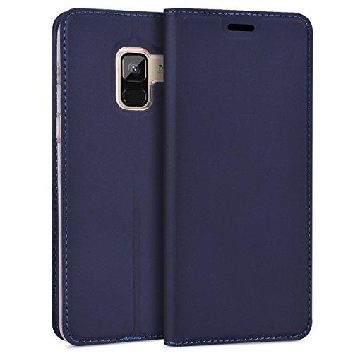 SMART LEGEND Samsung Galaxy A8 Plus 2018 Hülle, Handyhülle Schutzhülle mit kartenfach Lederhülle Ledertasche PU Leder Flip Case mit Magnet Standfunktion - Blau