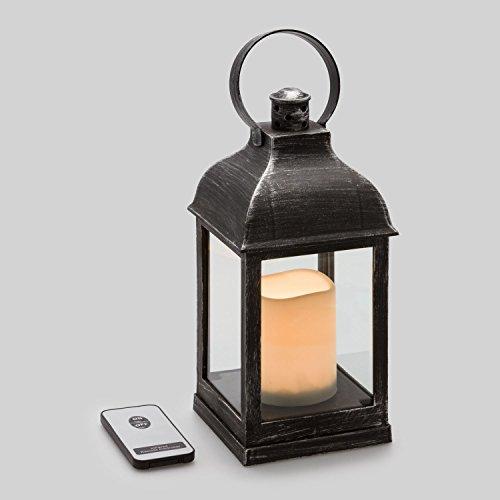 Farolillo vidrio y plástico negro con vela LED, 24 cm, LED luz cálida, efecto llama, mando control, luces ambiente a pilas