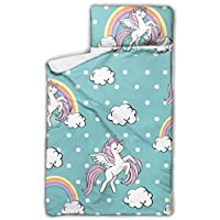 """WYYWCY Beautiful Unicorn On Blue Seamless Camp Sleeping Bag Kids Boy Preschool Nap Mat With Blanket And Pillow Rollup Design Great For Preschool Daycare Sleepovers 50""""x20"""""""