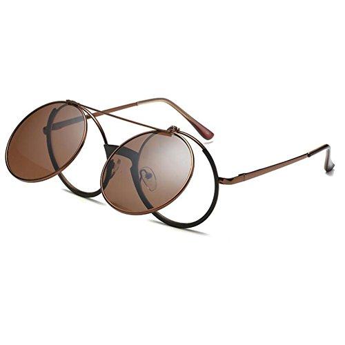 Hzjundasi Unisex Eyewear Retro Flip Up Runde Steampunk Sonnenbrille Kreis Objektiv Metallrahmen