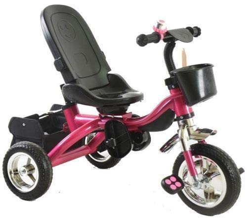 Trike Tricycle Stroller Buggy Wheel Ride Push Rain Cover Rubber Tyres 4 in 1 System (Pink) Generic Removable Leg rest for kids to feet up. Adjustable and removable parent handle or control bar. Plastic seat with removable padded cushion and lap seat belt to keep your child safe. 8