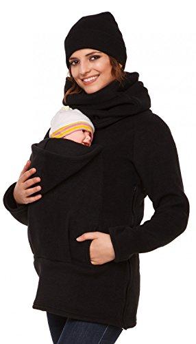 Happy Mama Donna felpa pile del portare neonato bambino davanti posteriore. 030p (Nero, IT 46, XL)