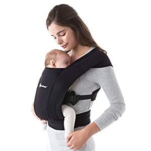 ErgobabyEmbraceBaby Carrier for Newborns from Birth with Head Support, Extra Soft and Ergonomic (Pure Black)   2