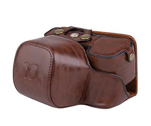 PDXD-share Schutztasche PU-Leder Kamera Tasche für Sony Alpha A6000 A6300 Kamera mit 16-50mm Objektiv (Bodenöffnung Kaffee)