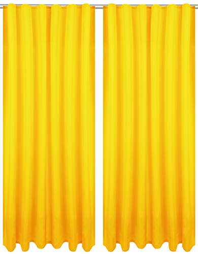 Bestlivings Dekoschal Ellen mit Universalband 2er Pack inkl. Raffhalter & selbstkl. Raffhaken, Größe: 140 x 145 cm, Farbe: gelb - Sonnengelb