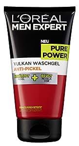 L'Oréal Men Expert Pure Power Vulkan Waschgel zur täglichen Anti Pickel Gesichtspflege, 1er Pack (1 x 150 ml)