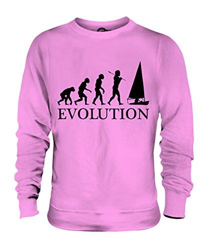 CandyMix Regattasegeln Segeln Evolution Des Menschen Unisex Herren Damen Sweatshirt, Größe 2X-Large, Farbe Rosa