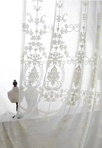 Lanlan Viktorianischer Damast Blumenmuster bestickt weiß Sheer Vorhang Pinch Falte