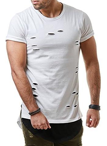 EightyFive Herren T-Shirt Long Oversized Shirt Destroyed Pablo Schwarz Weiß