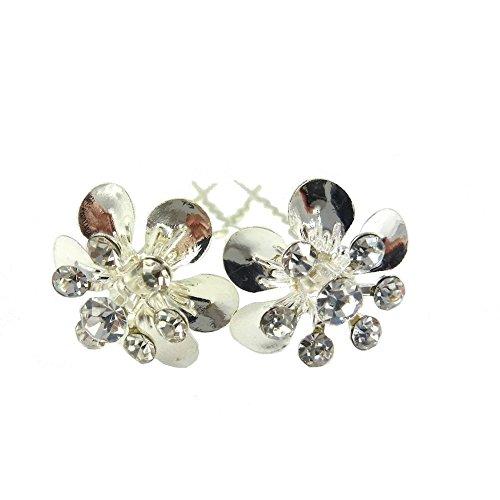 rougecaramel - Accessoires cheveux - Epingle chignon en cristal 2pcs - blanc