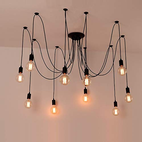 REAYOU Kronleuchter helles justierbares DIY Decken-Spinnen-hängendes Lampen-Licht E27 Retro DIY Lampe Ideal für Wohnzimmer Haus Esszimmer Halle Schlafzimmer Hotel Bar Café Nostalgie(ohne Birne)