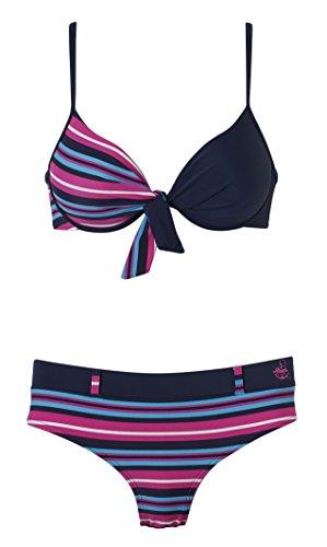 Beco Damen Push-Up-Bikini Sailors Romance Blau-Pink, 40