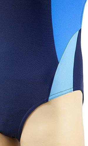 Gwinner Damen Badeanzug- Geeignet Für Freizeit Und Sport - Ideale Passform - Beständig Gegen UV Und Chlor -Made In EU #Alinka Dunkelblau/Blau