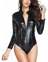 Hoverwin Body Noir Sexy Cuir Femme Sexy Erotique Manche Longue Fermeture  Eclair 75ffa36c6de