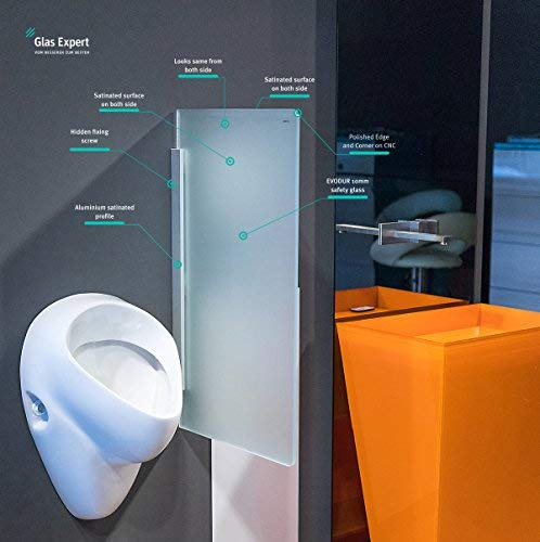 Glas Urinal Trennwand 450mm x 800mm Urinal Glaswand Glas Urinal Trennwand Glas WC Trennwand