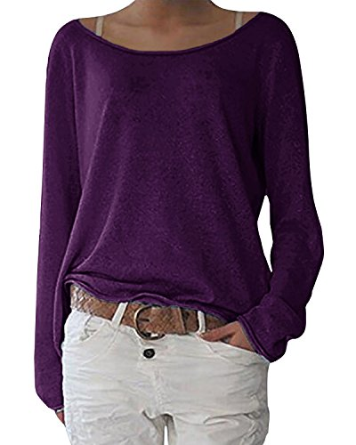ZANZEA Damen Langarm Lose Bluse Hemd Shirt Oversize Sweatshirt Oberteil Tops Lila EU 40-42/Etikettgröße M - Lila Tunika Pullover