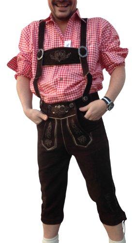 Trachtenoutfit Trachtenhose-Anzug Lederhose Trachtenanzug Trachten Hose Hemd Schuh Socke Träger echtleder Dark Braun Herren - 2