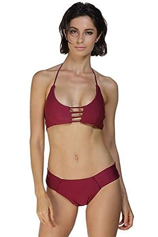QIFEI Maroon Cage Bralette Bikini Badeanzug (Rotwein) , XL