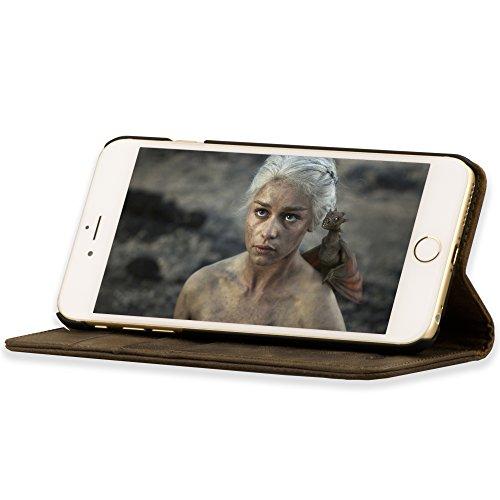 Étui iPhone 6S de TORRO en Cuir Véritable. Coque Housse Etui portefeuille Brun Foncé, en cuir de qualité supérieure, très mince avec Fonction de Support (brun foncé, cuir véritable) Pour Apple iPhone  Marron Fonce