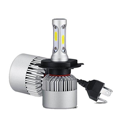 FEZZ Automobile LED Headlight Bulbs H4 COB Chips 72W 8000LM 6000K White Conversion Kit Hi Lo Beam with Fan