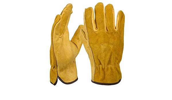 OZERO New Men/'s Work Driver Gloves Cowhide Leather Security Protection Wear
