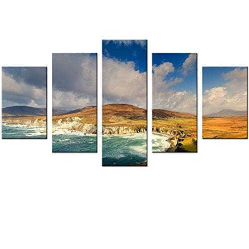 60x100cm - 5 Panel Leinwand Wandkunst - Landschaft Berg Poster Dekor Meer Malerei auf Leinwand für Wohnzimmer Landschaft Leinwand Malerei