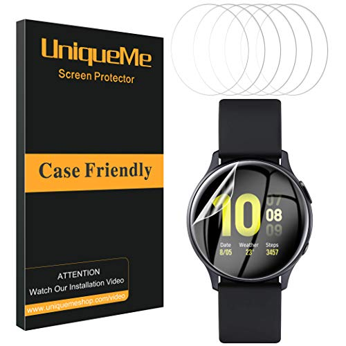 UniqueMe [6 Stück] schutzfolie für Samsung Galaxy Watch Active 2 44mm Folie, Soft HD TPU Clear Anti-Scratch Displayschutz Galaxy Watch Active 2 44mm Displayschutzfolie