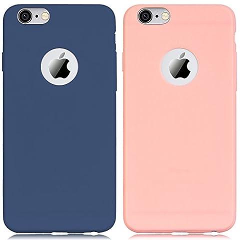 2 x Coque iPhone 6 / iPhone 6S, Yokata Solide Mat Anti-Fingerprint Case Housse Étui Soft Doux TPU Silicone Flexible Backcover Ultra Mince Coque - Bleu Marine + Rose