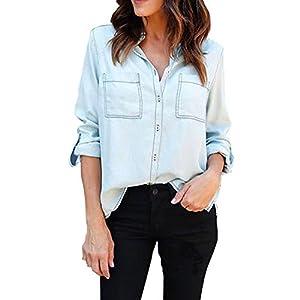 X-Large : Mumustar Women Denim Shirts Roll Up Sleeve Lady Girls Casual Denim Jeans Blouse Top Shirts