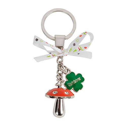 ebos Glücksbringer-Schlüsselanhänger | Pilz, Kleeblatt und Schleifchen mit Glückssymbolen | Schlüsselkette, Schlüsselring | Glückskollektion (Glücksbringer Schlüsselanhänger)