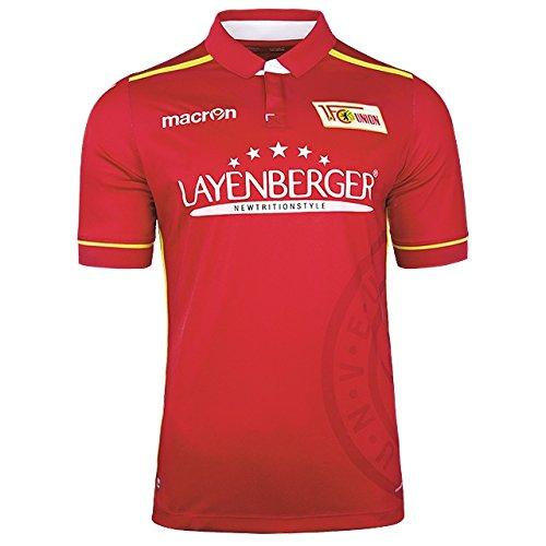 1-FC-UNION-BERLIN-Offizielles-Original-Macron-Trikot-Heim-kurzarm-Heimtrikot-mit-Sponsoren-Werbung--UNISEX-Damen-Herren-Official-Merchandise-Fan-Shirt-Authentic-Jersey-Home-Deutsche-Bundesliga-Fantrik