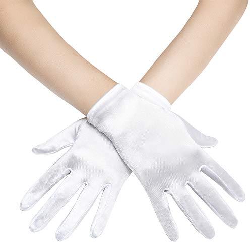 Coucoland Damen Handschuhe Satin Classic Opera Fest Party Audrey Hepburn Handschuhe 1920s Handschuhe Damen Lang Kurz Elastisch (Weiß/22cm)