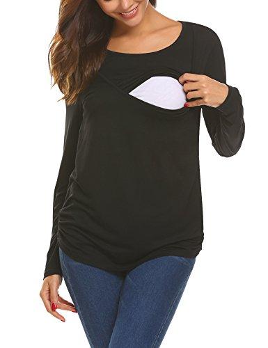 UNibelle Damen Umstandsmode/Langarmshirt Umstandsshirt Umstandstop Lagen Shirt Schwarz S