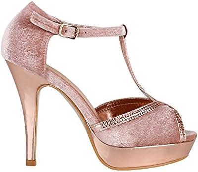 KRISP Zapatos Mujer Tacón Aguja Altos Fiesta Terciopelo Elegantes Sandalias Peep Toe