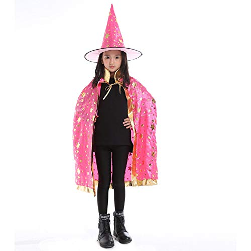 (Huhu833 Halloween Kostüm, Kinder Halloween Baby Kostüm Zauberer Hexe Mantel Cape Robe + Hat Set (Hot pink))