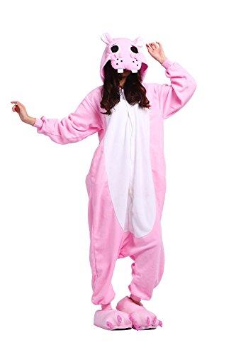One Unisex Sleepsuit Cartoon Pyjamas Halloween Cosplay Kleidung Jumpsuits Rosa Hippo Medium (Halloween Kostüm Hippo)